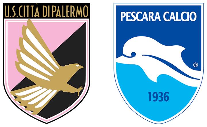 Gli stemmi del Palermo e del Pescara