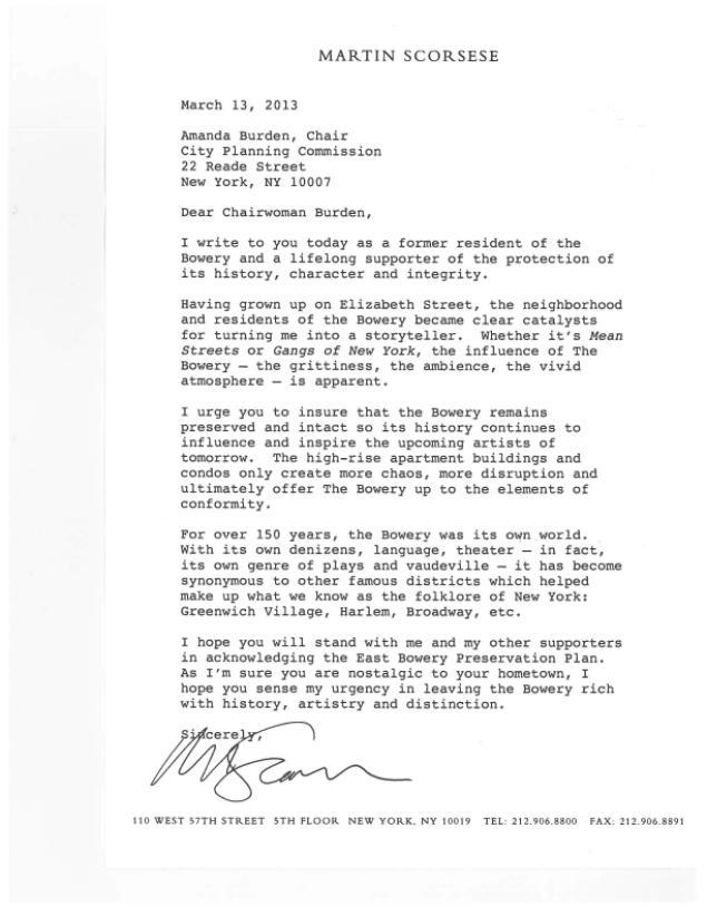 Scorsese Letter