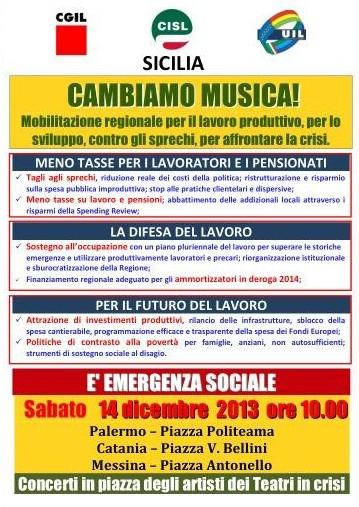 Conferenza stampa sindacati manifestazione 'Cambiamo musica' (volantino)