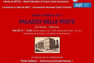 Palermo – Le guide turistiche dell'AGT di Palermo domani 22 febbraio apriranno le porte del Palazzo della Poste, in occasione della XXV Giornata Internazionale della Guida Turistica offrendo su prenotazione visite guidate gratuite dalle 9,15 alle 13 (ultimo ingresso ore 12 durata della visita 1 ora) ai cittadini ed ai turisti. Nel corso di una