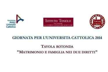 """Palermo – Si è tenuta, presso la Facoltà di Giurisprudenza, la Tavola Rotonda riguardante """"Il matrimonio e la famiglia nei due diritti"""", l'iniziativa promossa dalla Delegazione dell'Università Cattolica per la diocesi di Palermo, in sinergia con l'Associazione amici dell'Ateneo del Sacro Cuore, l'Istituto Giuseppe Toniolo di Studi Superiori, l'Arcidiocesi di Palermo e l'Università degli Studi"""
