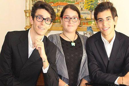 Federico Di Noto, Carmen Sottile e Gabriele Laura,  i giovani pianisti dell URL IMMAGINE SOCIAL