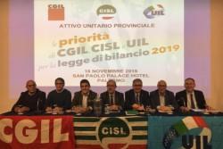 Le priorità di Cgil, Cisl, Uil per la legge di bilancio 2019. Assemblea a Palermo per discuterne unitariamente